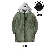 [어커버]ACOVER - Hood Long MA-1 Padding Jacket Khaki 후드 롱패딩 패딩롱항공점퍼 항공점퍼 항공자켓 항공패딩 항공패딩점퍼
