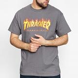 [트래셔] 매거진 플레임 로고 반팔 티셔츠 / 110102-CHARCOAL