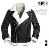 [뉴비스] NUVIIS - 라인 인조양털 무스탕 자켓 (KT019JK)