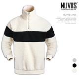 [뉴비스] NUVIIS - 양털 반집업 배색 오버핏 맨투맨 (BN081MT)