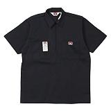 [벤데이비스]BEN DAVIS - Short Sleeve Solid Half Zipper Black 하프집업 반팔 워크셔츠 반팔남방
