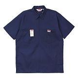 [벤데이비스]BEN DAVIS - Short Sleeve Solid Half Zipper Navy 하프집업 반팔 워크셔츠 반팔남방