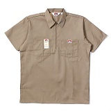[벤데이비스]BEN DAVIS - Short Sleeve Solid Half Zipper Khaki 하프집업 반팔 워크셔츠 반팔남방