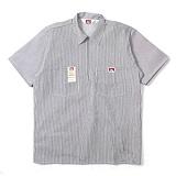 [벤데이비스]BEN DAVIS - Short Sleeve Solid Half Zipper Stripe Hickory 하프집업 반팔 워크셔츠 반팔남방