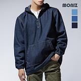 [모니즈]MONIZ 오버핏 베이직 데님 아노락 후드티 HDD001