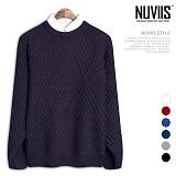 [뉴비스] NUVIIS - 크로스 사선라인 라운드 니트 (TR011KN)