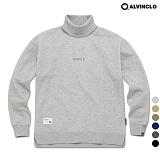 [앨빈클로]MAR-640G 엣지 자수 목폴라 오버핏 맨투맨 크루넥 스��셔츠
