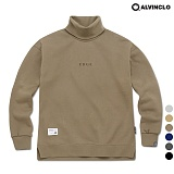 [앨빈클로]MAR-640CO 엣지 자수 목폴라 오버핏 맨투맨 크루넥 스��셔츠