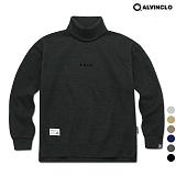 [앨빈클로]MAR-640D 엣지 자수 목폴라 오버핏 맨투맨 크루넥 스��셔츠