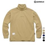 [앨빈클로]MAR-640BE 엣지 자수 목폴라 오버핏 맨투맨 크루넥 스��셔츠