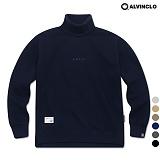 [앨빈클로]MAR-640n 엣지 자수 목폴라 오버핏 맨투맨 크루넥 스��셔츠