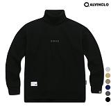 [앨빈클로]MAR-640B 엣지 자수 목폴라 오버핏 맨투맨 크루넥 스��셔츠
