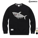[앨빈클로]ALVINCLO MAR-779B 상어자수 맨투맨 크루넥 스��셔츠