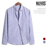 [뉴비스] NUVIIS - 배색 스트라이프 롤업 긴팔셔츠 (DP035SH)