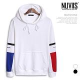 [뉴비스] NUVIIS - 배색 소매 나염 후드 티셔츠 (CS044HD)