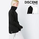 [DISCENE] 디씬 무지 옆트임 오버핏 목폴라 긴팔티셔츠 BLACK