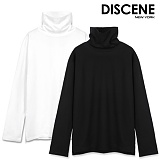 [DISCENE] 디씬[1+1] 무지 옆트임 오버핏 목폴라 긴팔티셔츠