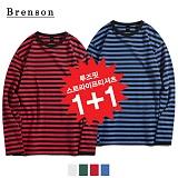 [1+1][Brenson]브렌슨 - 루즈핏 롱스트라이프 롱슬리브 티셔츠 4컬러