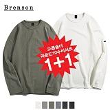 [1+1][Brenson]브렌슨 - 드롭숄더 라운드사이드절개 10수 티셔츠