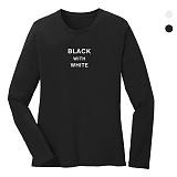 폴앤폴 - 블랙&화이트 라운드 긴팔 티셔츠 (남여공용)