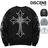 [DISCENE] 디씬 십자가 오버핏 기모 맨투맨 4COLOR
