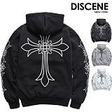 [DISCENE] 디씬 십자가 오버핏 기모 후드티 4COLOR
