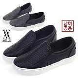 [에이벨류][2.5cm] 남녀공용 커플 와플 격자 슬립온 553-morning(블랙.그레이) 남자 여자 모닝 단화 신발