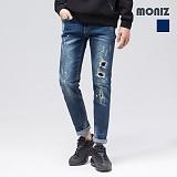 [모니즈]MONIZ 총알 덧댐 페인팅 워싱 청바지 PDN174