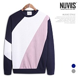 [뉴비스] NUVIIS - 삼색배색 니트 맨투맨티셔츠 (BN086MT)