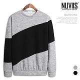 [뉴비스] NUVIIS - 사선배색 니트 맨투맨티셔츠 (BN085MT)