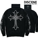 [DISCENE] 디씬 십자가 오버핏 기모 목폴라 BLACK