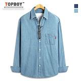 탑보이 - 플레인 루즈핏 데님 긴팔셔츠 (DO156)