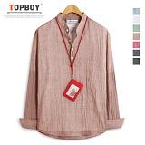 [탑보이] TOPBOY - 심플 아사거즈 헨리넥 셔츠 (DO141)