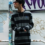 [본챔스] BORN CHAMPS B WIDE STRIPE TEE CHARCOAL CEPCMTS04CH 긴팔티