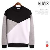 [뉴비스] NUVIIS - 네오프렌 삼색 절개 맨투맨 티셔츠 (TR143MT)