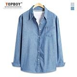탑보이 - 심플 베이직 데님 긴팔셔츠 (TSPL065) 셔츠