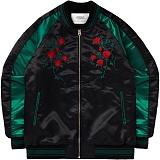 [언더에어] UNDER AIR Rose Satin Souvenir Jkt - Black/Green 자켓 블루종자켓 스타디움