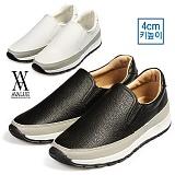 [에이벨류]남성 4cm 키높이 캐주얼 컴포트 슬립온 스니커즈(블랙.화이트) 593-그래고 709 남자 신발 런닝화 단화 패션