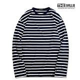 [더무지] THEMUJI - 베이직 단가라 긴팔 티셔츠