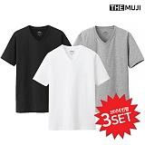 [더무지] THEMUJI - (3set) 무지 브이넥 반팔 티셔츠
