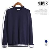[뉴비스] NUVIIS - 라인배색 라운드 맨투맨 티셔츠 (MD055MT)