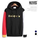 [뉴비스] NUVIIS - 유니 배색 후드 티셔츠 (MD058HD)