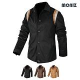 [모니즈] MONIZ  어깨배색 세무 레더자켓 JKL152