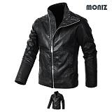 [모니즈] MONIZ  하이넥 지퍼 레더자켓 JKL122