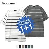 (1+1)브렌슨 - 루즈핏 핀스트라이프 사이드절개 티셔츠 반팔티
