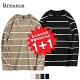 (1+1)[Brenson]브렌슨 - 핀스트라이프 롱슬리브리스 티셔츠 4컬러