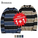 (1+1)[Brenson]브렌슨 - 브로디 스트라이프 롱슬리브 티셔츠 4컬러