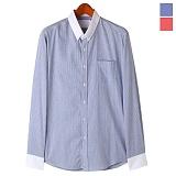 토키오 화이트 컬러레이션 스트라이프 셔츠