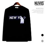 뉴비스 - 블랙 뉴욕 라운드 긴팔 티셔츠 (TR166TS)