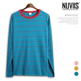 [뉴비스] NUVIIS - 네크라인 배색 단가라 긴팔티셔츠 (SP051TS)